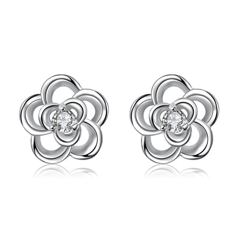 Silver Tone Spiral Clover Stud Earrings - rubiquejewelry.com