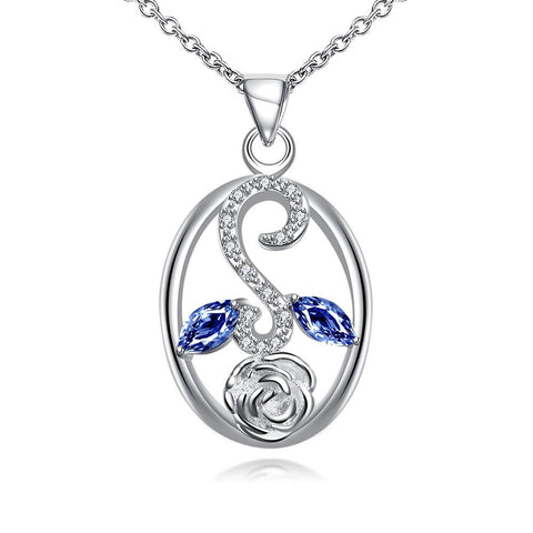 Sapphire Leaf Spiral Jewels Pendant Drop Necklace - rubiquejewelry.com