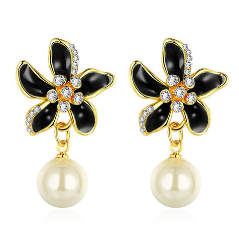18K Gold Black Floral Petals Drop Down Earrings Made with Swarovksi Elements - rubiquejewelry.com