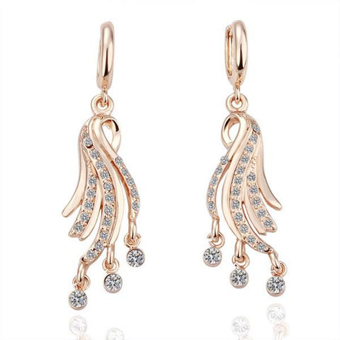 18K Gold Dangling Tree Branch Earrings Made with Swarovksi Elements - rubiquejewelry.com
