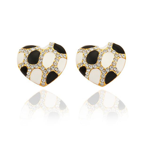 18K Gold Heart Shaped Ivory & Onyx Gem Stud Earrings Made with Swarovksi Elements - rubiquejewelry.com