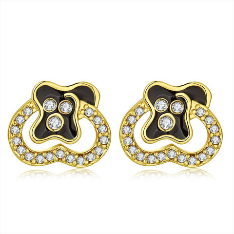 18K Gold Stud Earrings with Jewels Made with Swarovksi Elements - rubiquejewelry.com