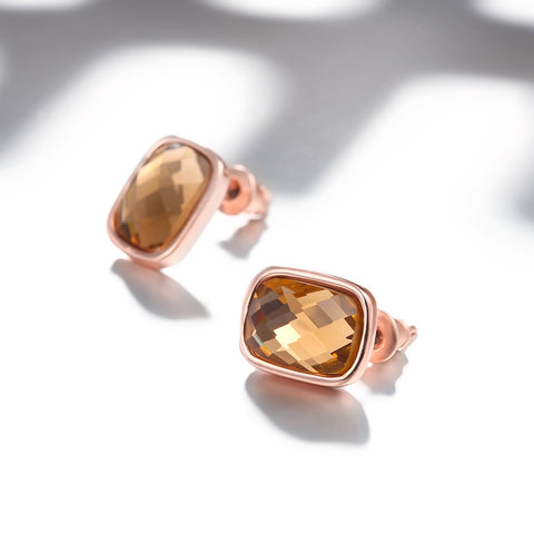 Italian Rosegold Plated Elegant Orange CZ Stud Earrings - rubiquejewelry.com - 1