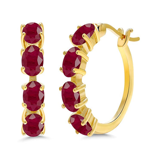 1.90 CTTW Ruby Oval Cut Huggie Earrings in 18K Gold Plating