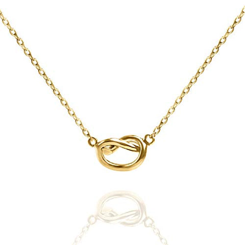18K Gold Plated Minimalist Sleek Pretzel Design Necklace - Two Options