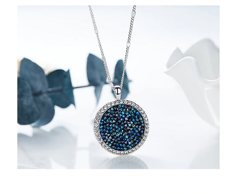 14K White Gold Plated Navy Blue Swarovski Elements Crystal Dust Pendant Necklace