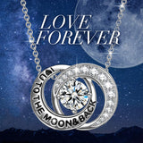 14K White Gold Plating Interlocking Swarovski Elements Love You To The Moon Necklace