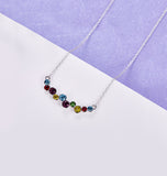 14K White Gold Plating Rainbow Swarovski Cluster Bubble Statement Necklace