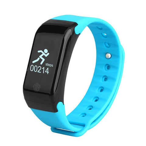 Swiss-Time Smart Watch GEO-MODE Fitness Tracker Smart Watch, Android and iPhone Compatible - Bluetooth Fitness Tracker Heart Rate Monitor - BLUE