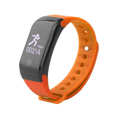 Swiss-Time Smart Watch GEO-MODE Fitness Tracker Smart Watch, Android and iPhone Compatible - Bluetooth Fitness Tracker Heart Rate Monitor - ORANGE