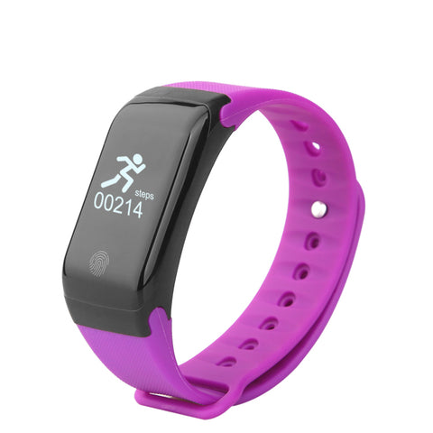 Swiss-Time Smart Watch GEO-MODE Fitness Tracker Smart Watch, Android and iPhone Compatible - Bluetooth Fitness Tracker Heart Rate Monitor - PURPLE