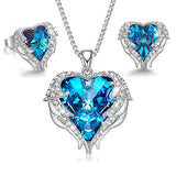 14K WHITE GOLD PLATING BLUE SWAROVSKI HEART SHAPED NECKLACE & EARRINGS SET