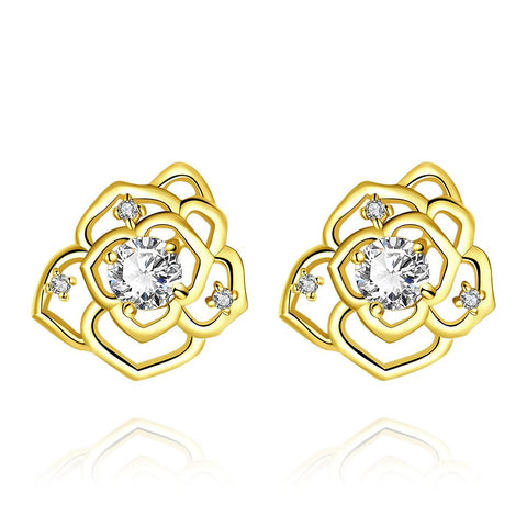 Gold Plated Laser Cut Floral Petals Stud Earrings - rubiquejewelry.com