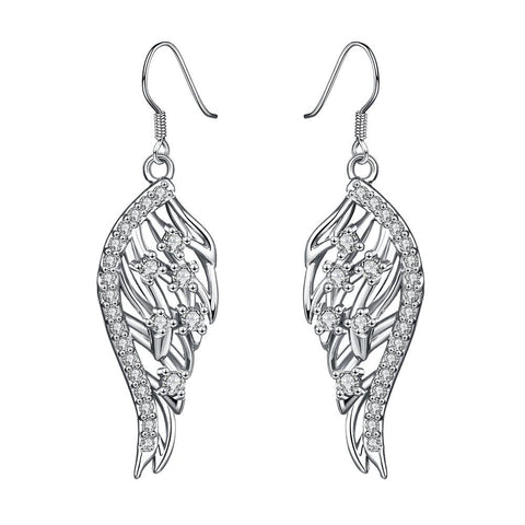 White Gold Plated Drop Down Phoneix Emblem Earrings - rubiquejewelry.com