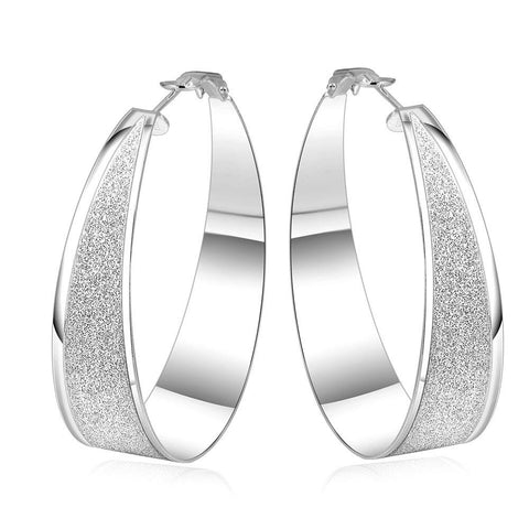Sterling Silver Stones Crusted Hoop Earring - rubiquejewelry.com