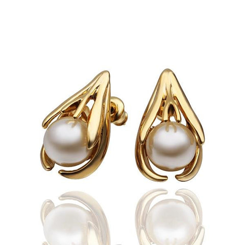 18K Gold Abstract Curved Stud Earrings with Pearl Centerpiece Made with Swarovksi Elements - rubiquejewelry.com