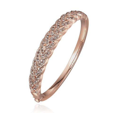 18K Rose Gold Covered with Crystal Jewels Bangle with Swarovski Elements - rubiquejewelry.com