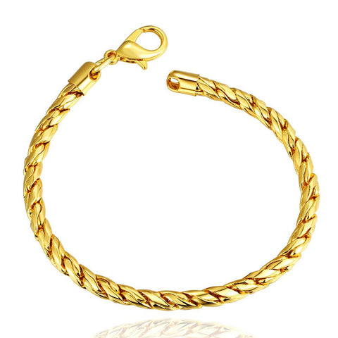 18K Gold Classic Men's Bracelet with Swarovski Elements - rubiquejewelry.com