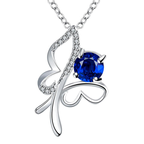 Petite Mock Sapphire Hollow Flying Butterfly Drop Necklace - rubiquejewelry.com
