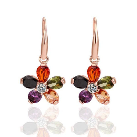 18K Rose Gold Colorful Clover Drop Down Earrings Made with Swarovksi Elements - rubiquejewelry.com