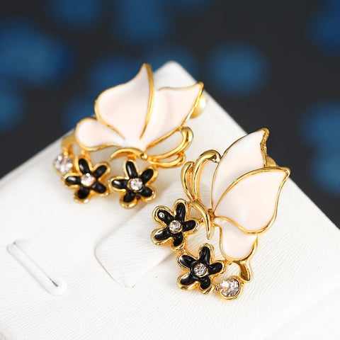 18K Gold Ivory Wings Stud Earrings Made with Swarovksi Elements - rubiquejewelry.com
