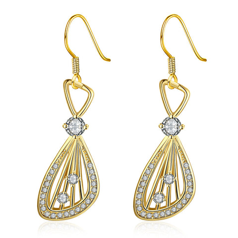 Gold Plated Grape Vine Drop Down Earrings - rubiquejewelry.com