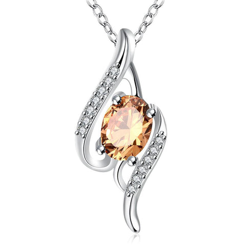 Orange Citrine Gemstone Spiral Drop Necklace - rubiquejewelry.com