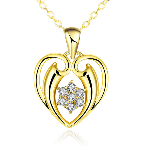 Gold Plated Hollow Valentines Necklace - rubiquejewelry.com