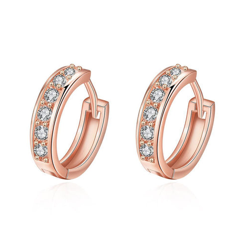 Rose Gold Plated Classic Diamond Jewels Mini Hoop Earrings - rubiquejewelry.com