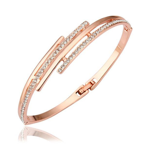 18K Gold Bangle with Crystal Jewels Ingrained with Swarovski Elements - rubiquejewelry.com
