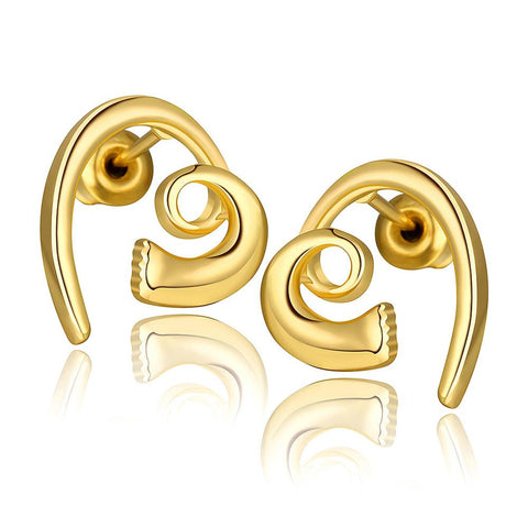 18K Gold Abstract Heart Shaped Earrings Made with Swarovksi Elements - rubiquejewelry.com
