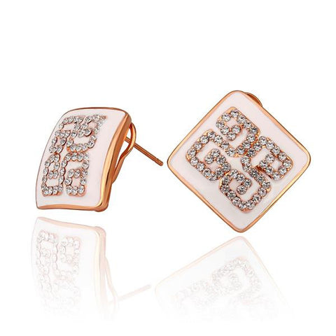 18K Rose Gold Ivory Layering Crystal Design Studs Made with Swarovksi Elements - rubiquejewelry.com