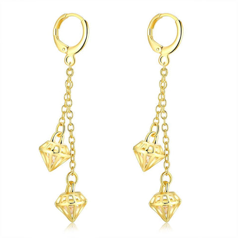 Gold Plated Triangular Dangling Drop Earrings - rubiquejewelry.com