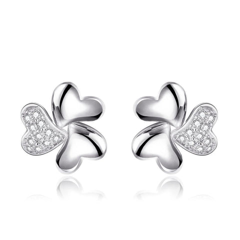 18K White Gold Abstract Clover Stud Earrings Made with Swarovksi Elements - rubiquejewelry.com