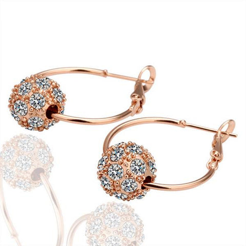 18K Gold Hoop Earrings with Suave Swarovski Crystal Made with Swarovksi Elements - rubiquejewelry.com