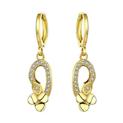 Gold Plated Trio Plated Drop Down Earrings - rubiquejewelry.com