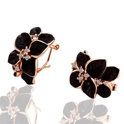18K Rose Gold Black Petals Earrings Made with Swarovksi Elements