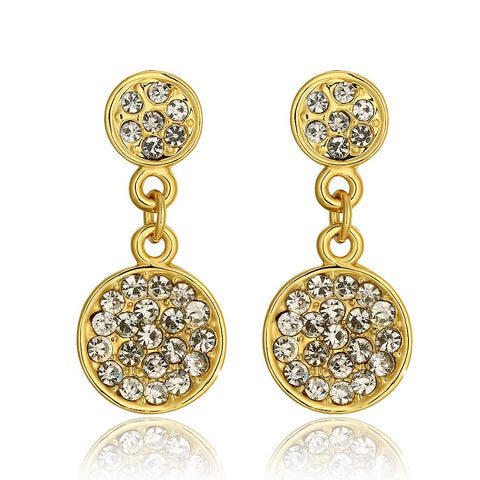 18K Gold Classic 5th Avenue Drop Down Earrings Made with Swarovksi Elements - rubiquejewelry.com