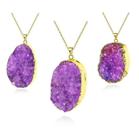 Amethyst Geometric Natural Crystal Necklace - rubiquejewelry.com
