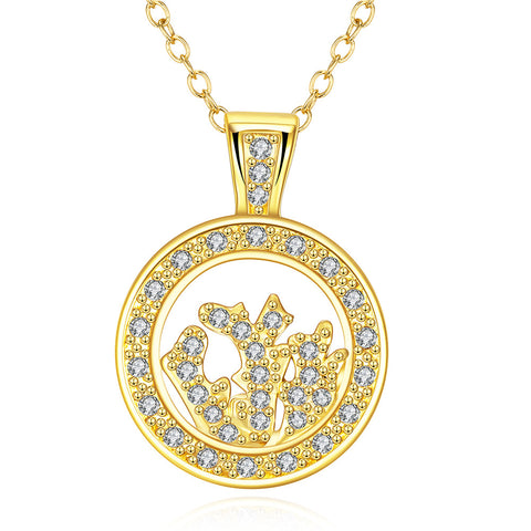 Gold Plated Crystal Filled Necklace - rubiquejewelry.com