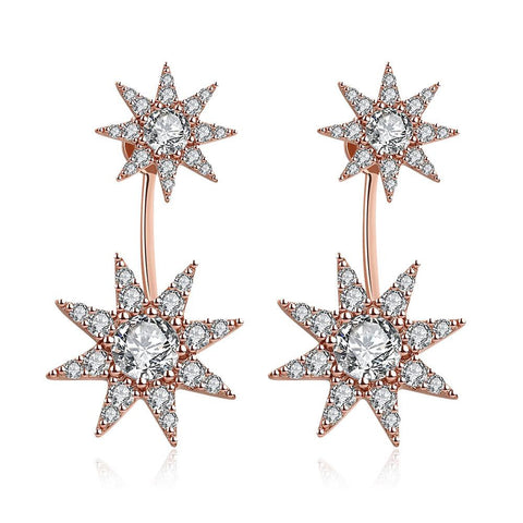 Rose Gold Plated Star Drop Studs - rubiquejewelry.com
