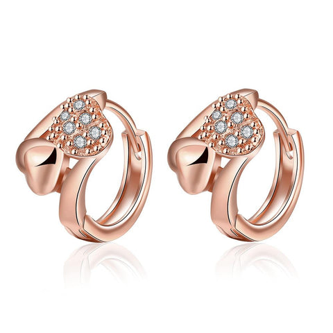 Rose Gold Plated Circular Crystal Hoops - rubiquejewelry.com