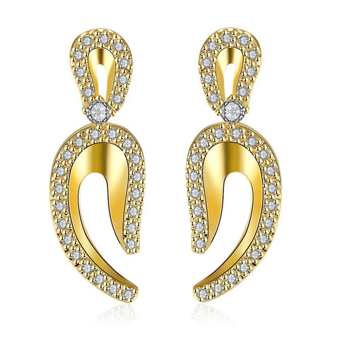 Gold Plated Lucky Horseshoe Earrings - rubiquejewelry.com