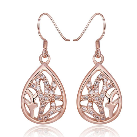 18K Rose Gold Classic Tree Branch Drop Down Earrings Made with Swarovksi Elements - rubiquejewelry.com