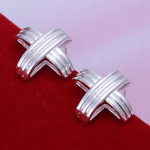 Sterling Silver Wired Cross Stud Earring - rubiquejewelry.com