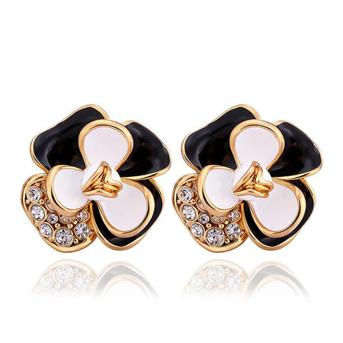 18K Gold Ivory Covered Floral Petal Stud Earrings Made with Swarovksi Elements - rubiquejewelry.com