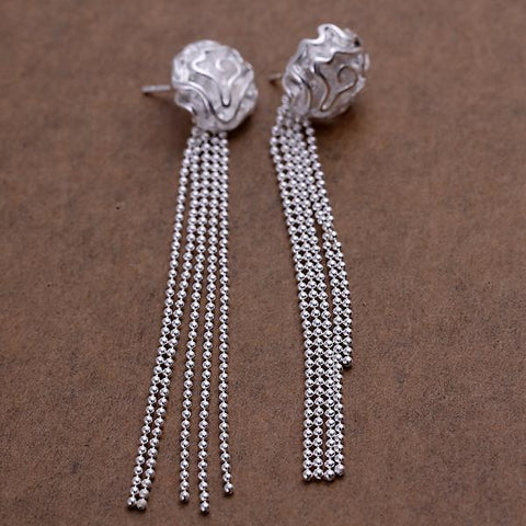 Sterling Silver Linear Chandelier Drop Earring - rubiquejewelry.com