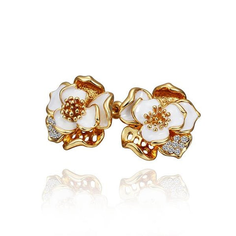 18K Gold Ivory Covered Petals Stud Earrings Made with Swarovksi Elements - rubiquejewelry.com