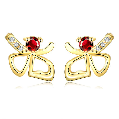 Gold Plated Double Hearts Ruby Gem Studs - rubiquejewelry.com