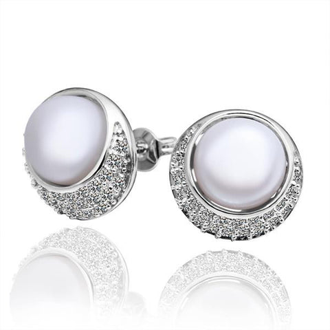 Cultured Pearl Circular Emblem Crystal Covering Stud Earrings - rubiquejewelry.com